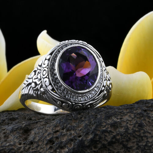 Bali Legacy Collection Amethyst (Rnd), Natural White Cambodian Zircon Filigree Ring in Sterling Silver 4.720  Ct, Silver wt 7.00 Gms.