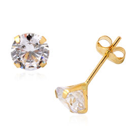 9K Yellow Gold Simulated Diamond (Rnd) Stud Earrings (with Push Back)