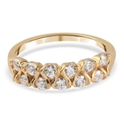J Francis 14K Gold Overlay Sterling Silver Ring (Size Q) Made with SWAROVSKI ZIRCONIA 1.05 Ct.