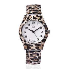 STRADA Japanese Movement Leopard Pattern Water Resistant Watch with Stretchable Strap (Size 6.5-7)