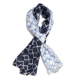 100% Mulberry Silk Navy, Grey and White Colour Handscreen Printed Scarf (Size 200X180 Cm)