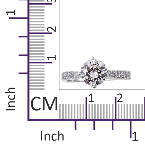 ELANZA Simulated Diamond (Rnd) Solitaire Ring in Rhodium Overlay Sterling Silver