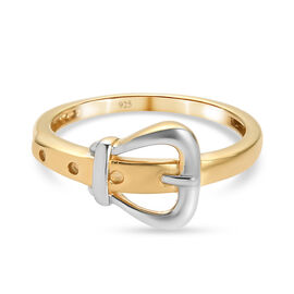 Platinum and Gold Overlay Sterling Silver Buckle Ring