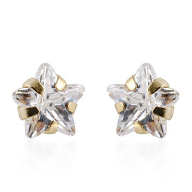 9K Yellow Gold Simulated Diamond Star Stud Earrings