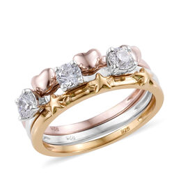 J Francis - Platinum, Rose and Yellow Gold Overlay Sterling Silver (Rnd) Ring Made With SWAROVSKI ZIRCONIA