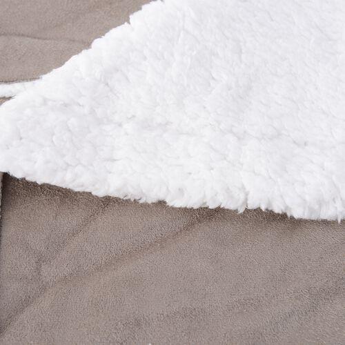 Light Grey Colour Checker Pattern Faux Suede Patchwork Blanket (Size 200x150 Cm)