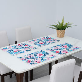 Set of 4 - Waterproof Floral Pattern Kitchen Placemat (Size 41x29Cm) - Sky Blue and Multi