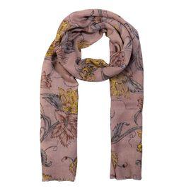 100% Merino Wool Floral Pattern Scarf (Size 70x180 Cm) - Dusty Pink