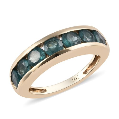 AA Grandidierite Half Eternity Band Ring in 9K Gold 3.20 Grams 1.85 Ct