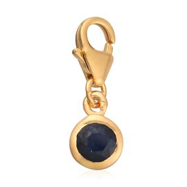 Kanchanburi Blue Sapphire Charm in 14K Gold Overlay Sterling Silver