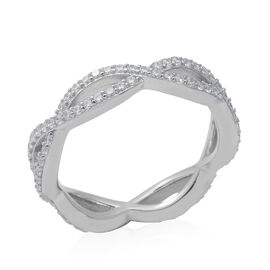 ELANZA Simulated Diamond Infinity Twist Ring in Rhodium Overlay Sterling Silver