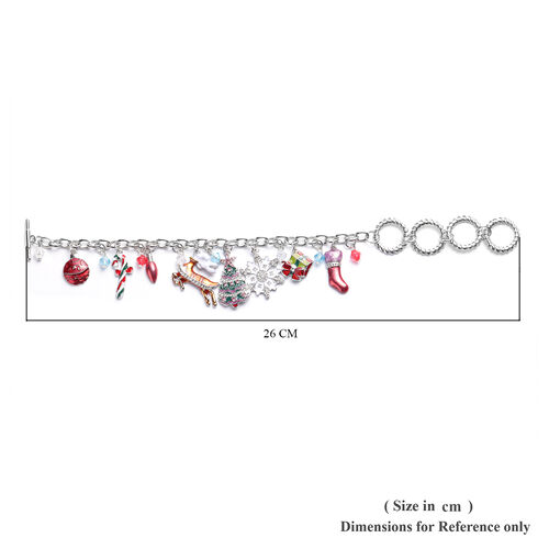 Pink and White Colour Austrian Crystal and Simulated Multi Gemstone Christmas Theme Enamelled Charm Bracelet (Size 10 with Extender) in Silver Tone