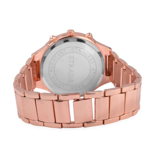 STRADA Japanese Movement Water Resistant White Austrian Crystal Studded Watch in Rose Gold Plated Stainless Steel