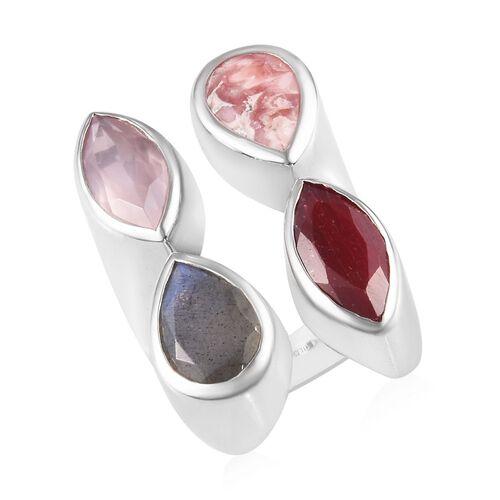 Sundays Child - Rhodochrosite, Rose Quartz and Multi Gemstone Ring in Platinum Overlay Sterling Silv