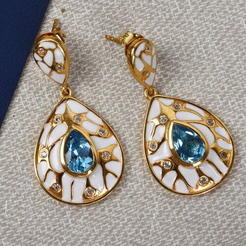 Electric Blue Topaz and Natural Cambodian Zircon Enamelled Drop Earrings (with Push Back) in 14K Gold Overlay Sterling Silver 3.50 Ct., Silver wt 6.00 Gms