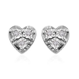 GP Diamond (Rnd), Kanchanaburi Blue Sapphire Heart Earrings (with Push Back) in Platinum Overlay Sterling Silver 0.120 Ct.