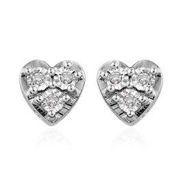 GP Diamond Heart Stud Earrings in Platinum Plated Sterling Silver