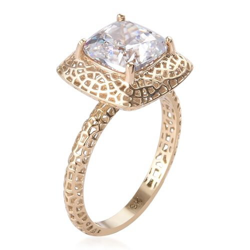 J Francis - 9K Yellow Gold Solitaire Ring Made with SWAROVSKI ZIRCONIA 2.50 Ct.