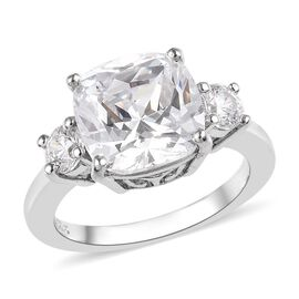 J Francis Made with SWAROVSKI ZIRCONIA Solitaire Design Ring in Platinum Plated Silver