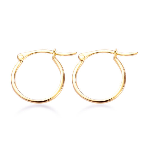 14K Gold Overlay Sterling Silver Hoop Earrings (with Push Back)