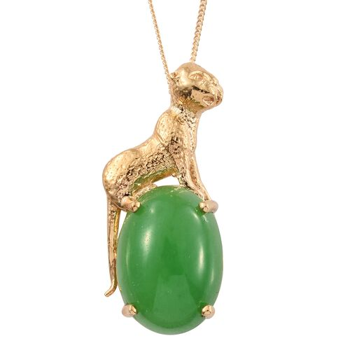 Vintage Inspired -Green Jade (Ovl) Wild Life Inspired Pendant with Chain in 14K Gold Overlay Sterling Silver 14.000 Ct.