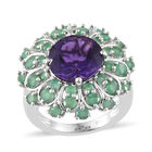 Amethyst (Rnd 4.25 Ct), Kagem Zambian Emerald Floral Ring (Size L) in Platinum Overlay Sterling Silver 6.000