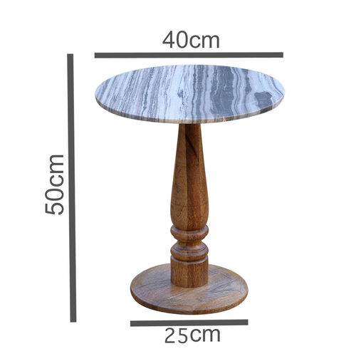 Luxury Edition- Marble Round Side Table (Grey).Size Top 40X40 cm Height 50 Cm