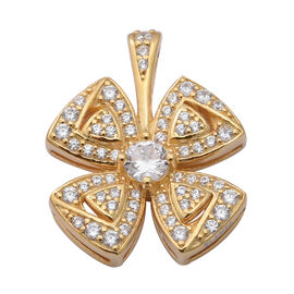 ELANZA AAA Simulated Diamond 4-Leaf Clover Pendant in Yellow Gold Overlay Sterling Silver