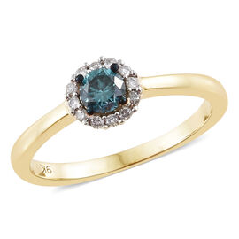 9K Yellow Gold Blue and White Diamond (Rnd) Floral Ring