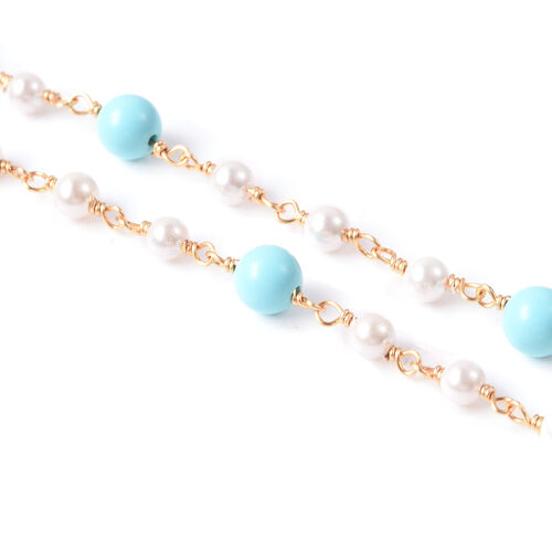 Blue Howlite and Pearl Specs Holder Chain or Necklace (Size 28)