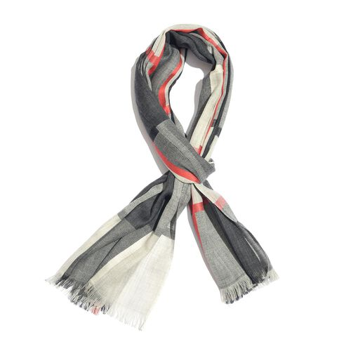92% Merino Wool and 8% Silk Black, Red and White Colour Checks Pattern Scarf with Fringes (Size 190X