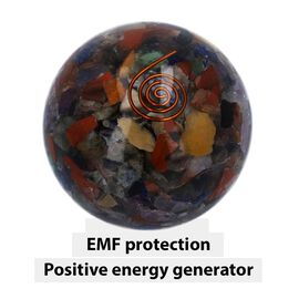 Gemstone Organite Sphere with Copper Coil for EMF Protection