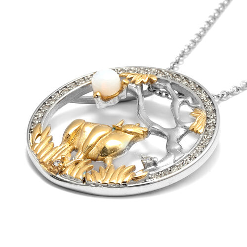 Opalite and White Austrian Crystal Ox Pendant with Chain (Size 24) in Gold Tone and Plain Stainless Steel