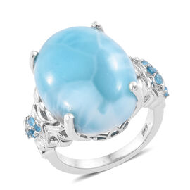 17.25 Ct Larimar and Neon Apatite Solitaire Design Ring in Sterling Silver 6.1 Grams