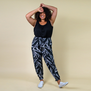 TAMSY One Size Plume Printed Trousers (Size:M/L,10-16) - Black and White