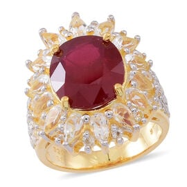 AAA African Ruby (Ovl 10.75 Ct), White Topaz Ring in 14K Gold Overlay Sterling Silver 16.000 Ct.
