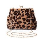 Brown Leopard Pattern Faux Fur Clutch Closure Crossbody Bag (Size: 23x10x18cm) with Chain Shoulder S