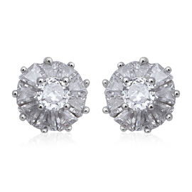ELANZA Simulated Diamond (Rnd and Bgt) Stud Earrings (with Push Back) in Rhodium Overlay Sterling Si