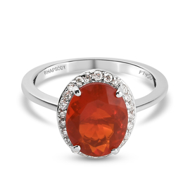 RHAPSODY 950 Platinum AAAA Mexican Fire Opal and Diamond(VS-EF) Halo Ring 2.03 Ct