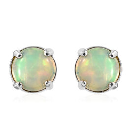 RHAPSODY 950 Platinum AAAA Ethiopian Welo Opal (Rnd) Earrings(with Screw Back) 1.200 Ct.