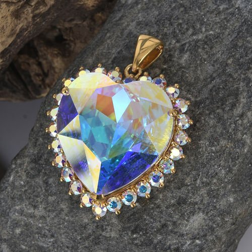J Francis Crystal from Swarovski - AB Crystal (Hrt 28mm) Heart Pendant in 14K Gold Overlay Sterling Silver, Silver wt 8.15 Gms.