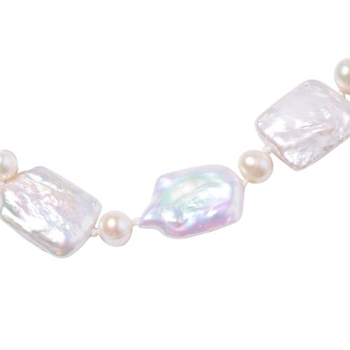 Keshi Pearl and Freshwater White Pearl Necklace (Size 18) in Rhodium Overlay Sterling Silver