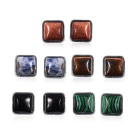 Set of 5 -  Multi Gemstone Stud Earrings (with Push Back) in Stainless Steel