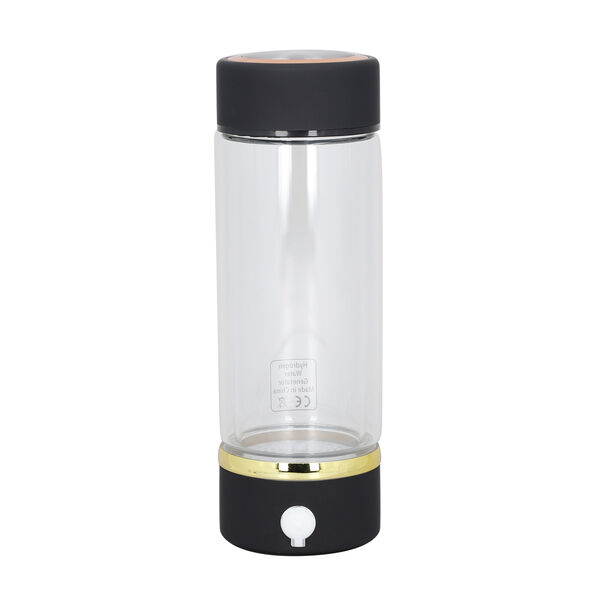380ml Portable Hydrogen Water Generator Bottle with SPE and PEM Technology (Size 7x21 Cm) - Black
