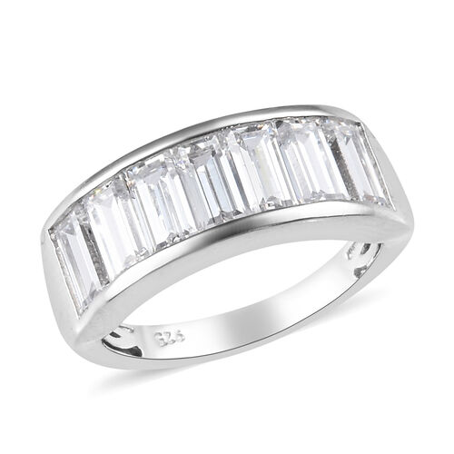 J Francis Made with SWAROVSKI ZIRCONIA Eternity Band Ring in Platinum Plated Silver