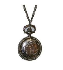Phillip Mercier Round Textured Pattern Quartz Necklace Watch