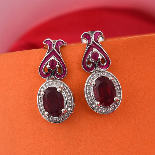 GP African Ruby (Ovl), Burmese Ruby and Blue Sapphire Enamelled Earrings (with Push Back) in Platinum Overlay Sterling Silver 2.25 Ct.