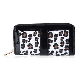 Designer Inspired- Leopard Design RFID  Wallet (Size 19x3x9.5cm)- Black and White