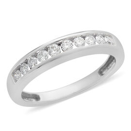ILIANA 0.33 Ct Diamond Half Eternity Band Ring in 18K White Gold 3.32 Grams IGI Certified SI GH