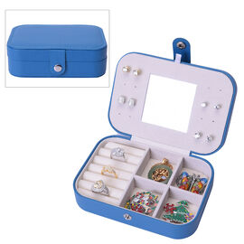 Portable and Lightweight Jewellery Organiser with Button Closure and Inside Mirror in Teal Colour (S